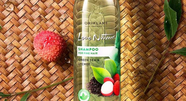 Shampoo with Green Tea and  lychee  for Fine Hair Love Nature