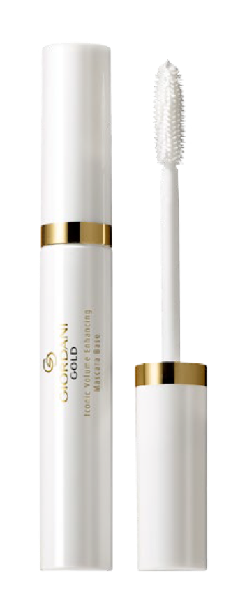 BRING SOPHISTICATED  SPLENDOUR TO YOUR LASH LOOK Indulge in the Art of Beautiful Living by adding a touch of refinement to  your eyelash routine. Introducing Oriflame's first ever Giordani Gold  Iconic Mascara Primer. Protect and plump up lashes with this luxurious  conditioning. Glide the lightweight mousse effortlessly onto even your  smallest lashes, reached by the special volumising brush.The white- pigmented formula helps intensify the colour of your Giordani Gold  mascara, seamlessly blending in to achieve an instantly fuller, sumptuous  lash look.  Claims: -Instant, visible lash volume - 94% agree. -Seamlessly blends with mascara leaving  no traces of white behind - 95% agree. -Instantly maximised lash volume - 92% agree -Lashes feel nourished, conditioned and cared for - 91% agree. -Instantly fuller lash appearance - 91% agree. -Dramatic, intense and captivating lash finish - 87% agree. -Bigger, bolder lash look - XL lashes - 85% agree. -Doubles lash volume for over-sized lash look - 82% agree. -Clump, flake and smudge free. * Consumer tested, using Giordani Gold Iconic Volume Enhancing Mascara Base,  Giordani Gold Iconic All-In-One Mascara and Giordani Iconic All-In-One Waterproof  Mascara.   How to use: 1. Apply Giordani Gold Iconic Volume Enhancing  Mascara Base on your lashes, from root to tip - just  like you would with your Giordani Gold mascara.